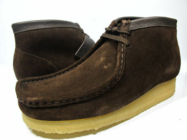 New Clarks of England Wallabee Boots Brown Suede Men's shoes 35402 Size 10.5
