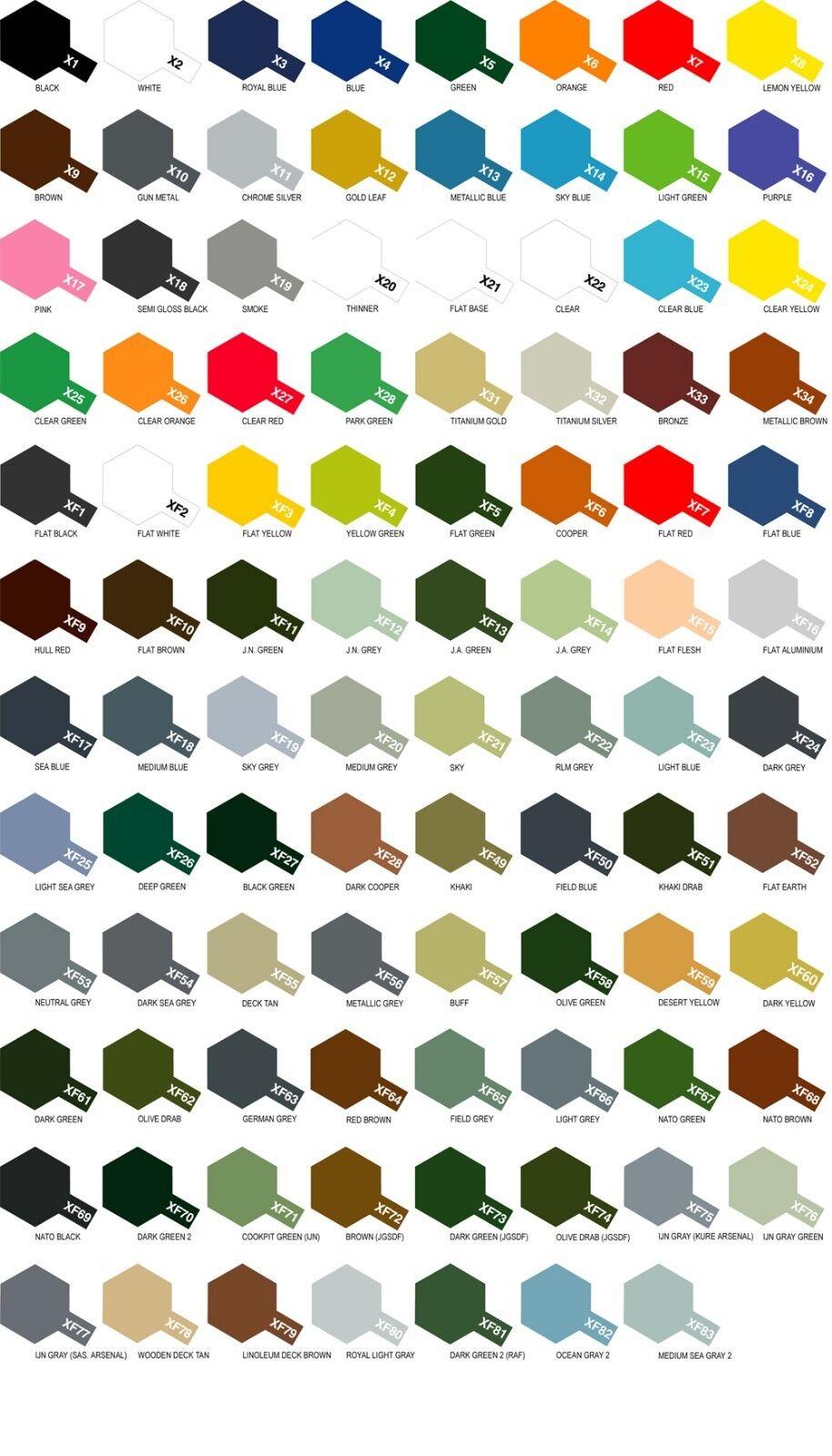 6 Dosen Acrylfarbe Tamiya Serie X- X- X- XF (zur Auswahl der Karte farbig)  | Auktion  b533eb