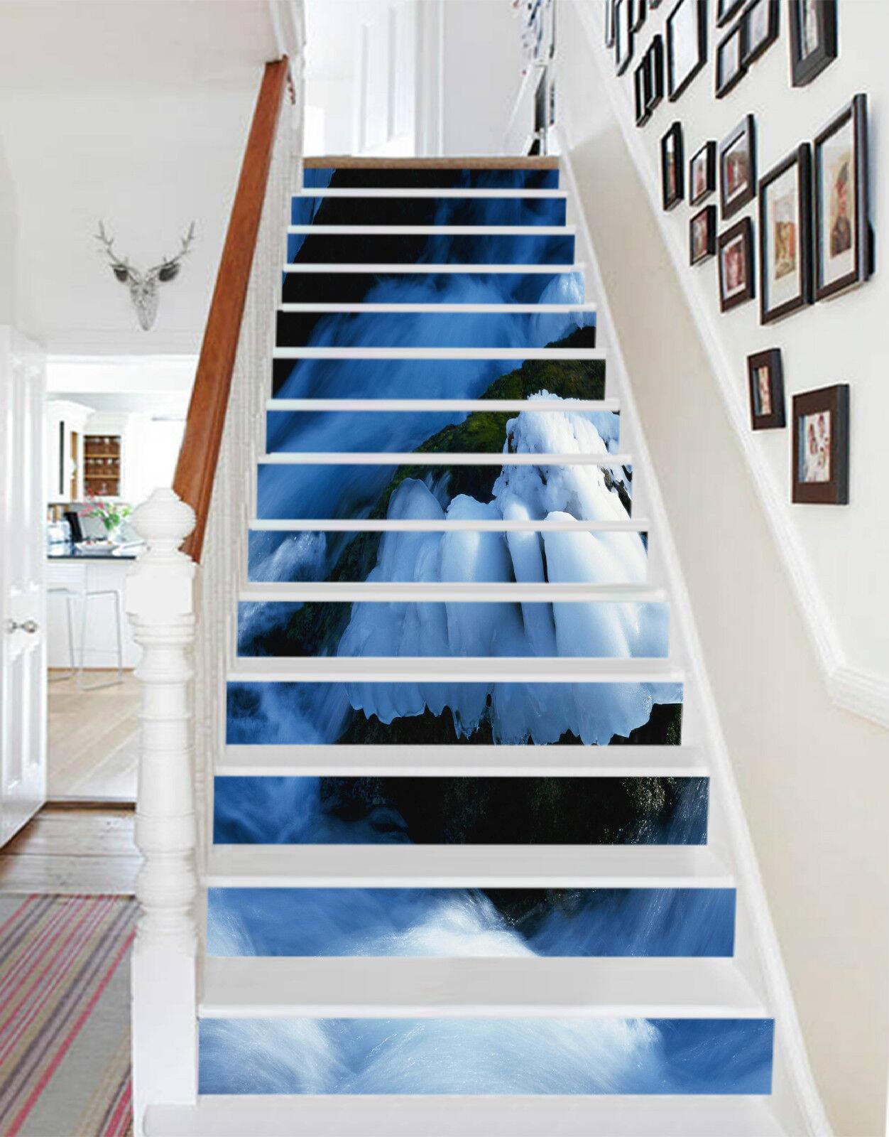 3D Eis Stein 264 Stair Risers Dekoration Fototapete Vinyl Aufkleber Tapete DE