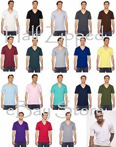 American-Apparel-V-Neck-T-Shirt-2456W-XXS-2XL-Fine-Jersey-IMPORTED