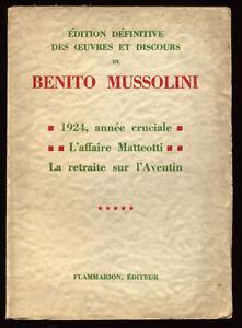 BENITO-MUSSOLINI-OEUVRES-ET-DISCOURS-TOME-5-1924-MATTEOTTI-AVENTIN