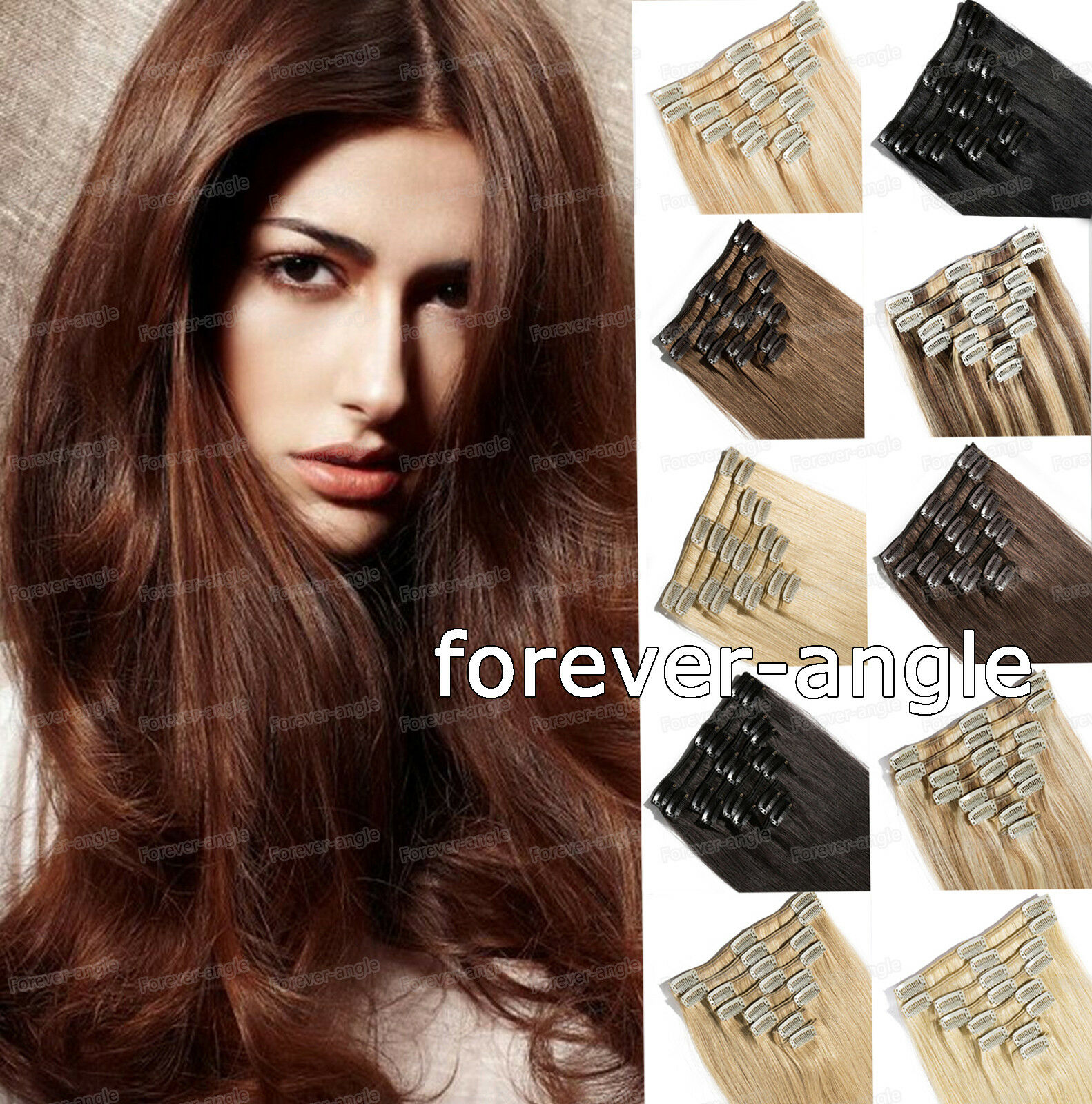 Double Thick Clip In Remy Real Human Hair Extensions 8pcs100gram
