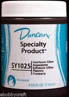 Duncan Sy1025 Heirloom Silver Metallic Glaze For Ceramics, 4 Oz Jar - Cone 04