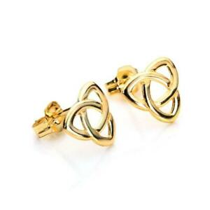 9CT YELLOW /& WHITE GOLD CELTIC KNOT LADIES STUD EARRINGS
