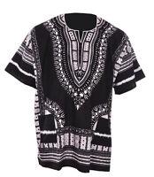 Black Traditional African Print Unisex Dashiki Shirt DP3578ML