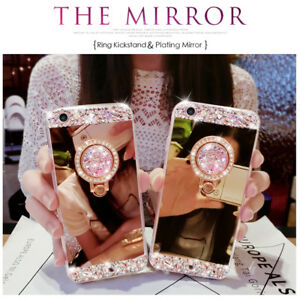 Luxury-DIY-Bling-Diamond-Crystal-Ring-Holder-Stand-Mirror-Soft-Case-Phone-Cover