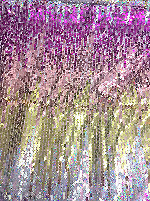 HOLOGRAM PEACH GOLD PINK OVAL STRETCH MESH SEQUIN FABRIC GLITTER DANCE WEAR