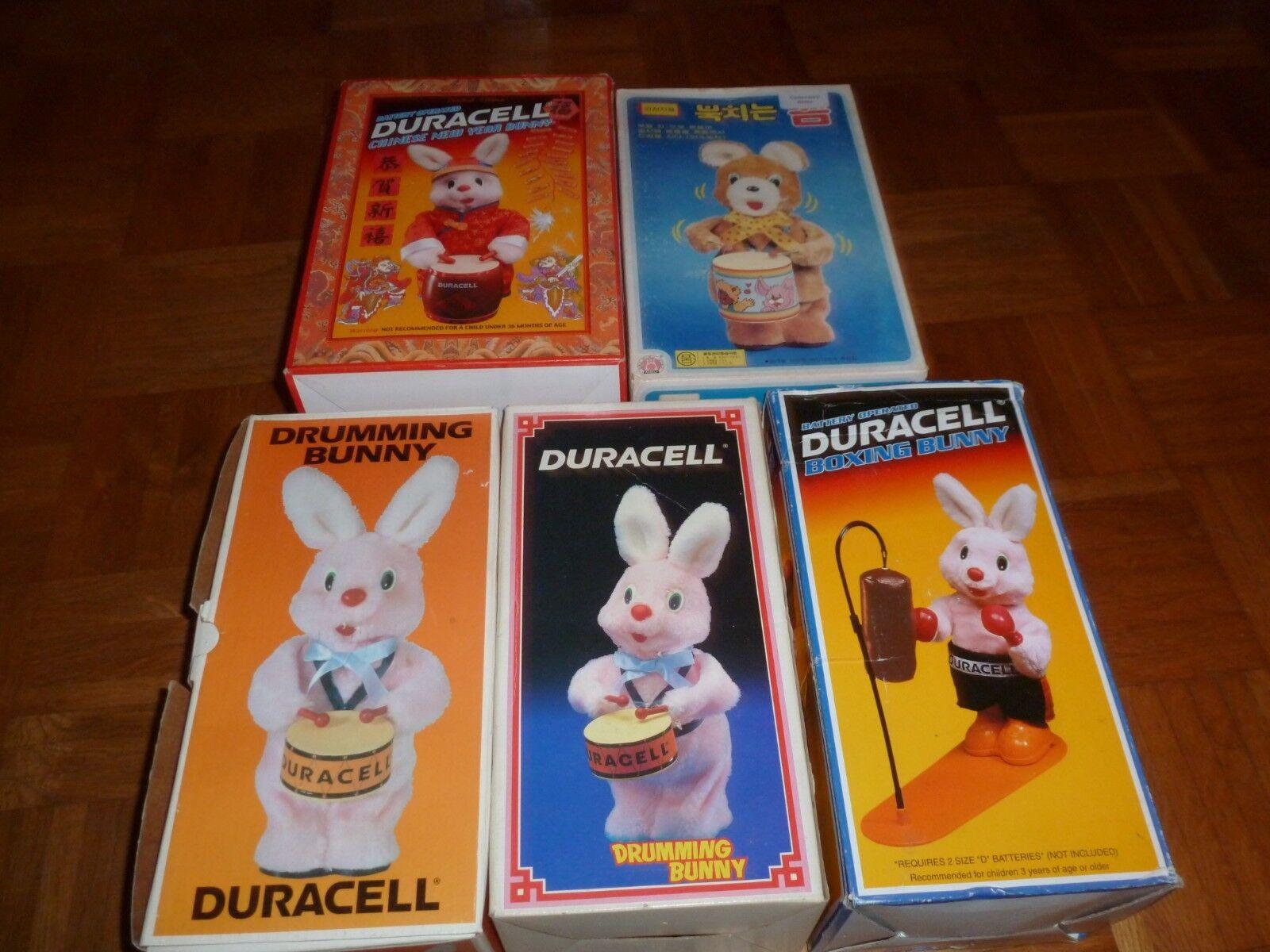 DURACEL 5x EMPTY BOXES DURACEL etc - BUNNY - approximate H30.0cm - ONLY BOXES