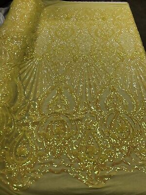 Iridescent Yellow 4Way Stretch Sequin Fabric Spandex Mesh Lace-Prom-Gown By Yard