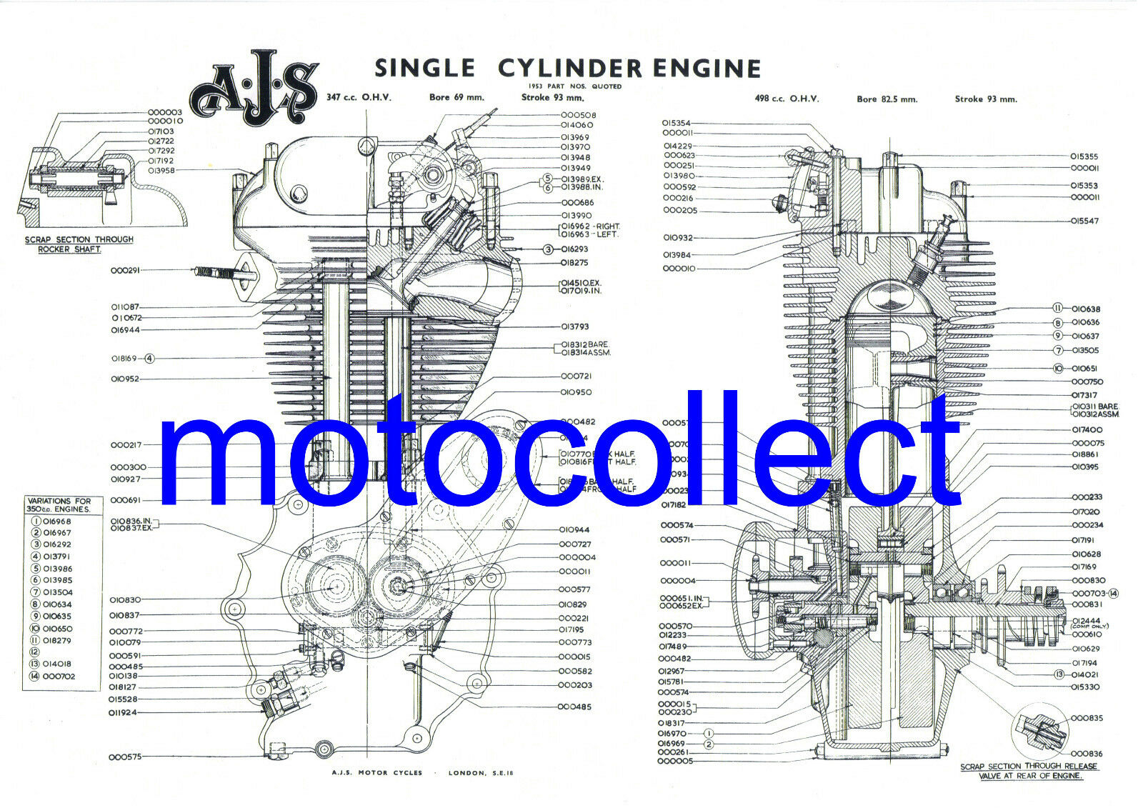 Royal Enfield Bullet Engine Exploded View Technical Drawinga3 Diagram Related Keywords Suggestions 420mm X 300mm Ebay