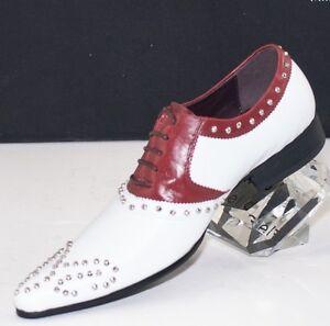 XL143 CLEVIS Men Dress Fashion Shoe White Brown Oxford