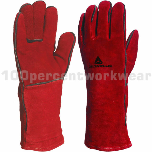 Delta Plus CA615K Red Leather Welding Welders Gauntlet Gloves Wood Burner Stove