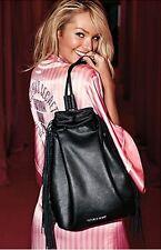 NEW Victoria's Secret VS Black Faux Leather Drawstring Bag