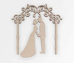 Wooden Shape Wedding Couple and Arch, Wooden Cut Out, Wall Art, Home Decor