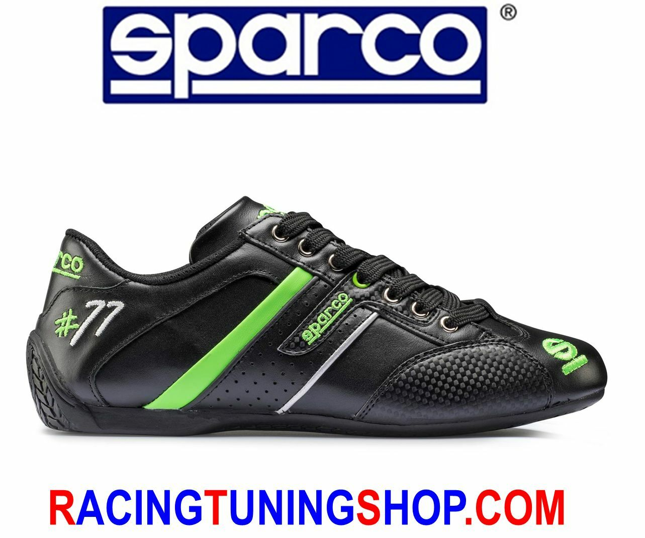 SPARCO SHOES TIME 77 SNEAKERS SCHUHE BLACK GREEN SIZE 44