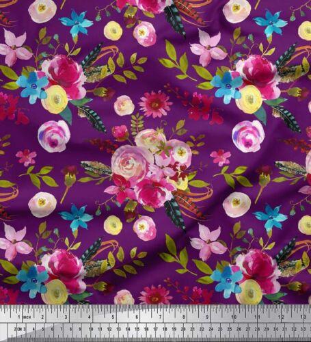 FL-342J Blätter und Ranunkeln Blumen Soimoi Stoff Feder Meterware bedrucken