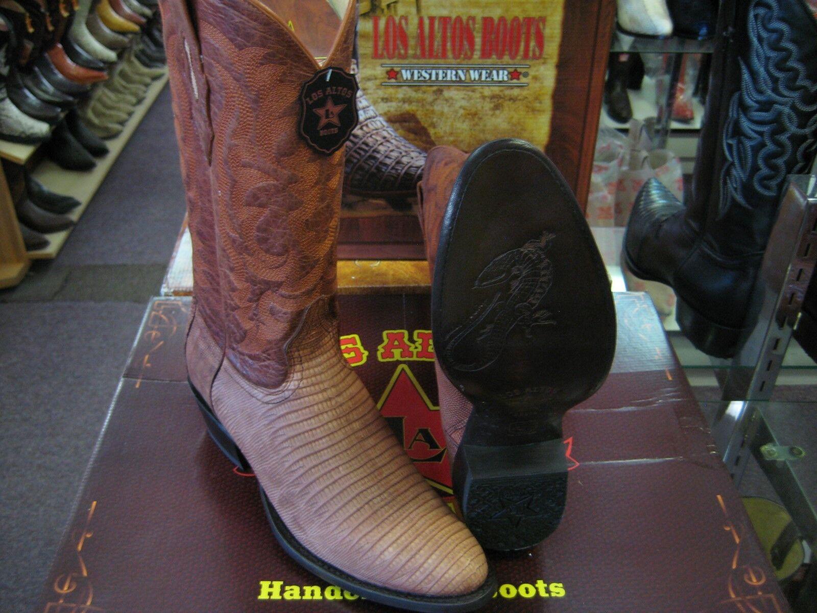 LOS ALTOS DULL COGNAC GENUINE TEJU LIZARD ROUND TOE WESTERN COWBOY BOOT 65G0703