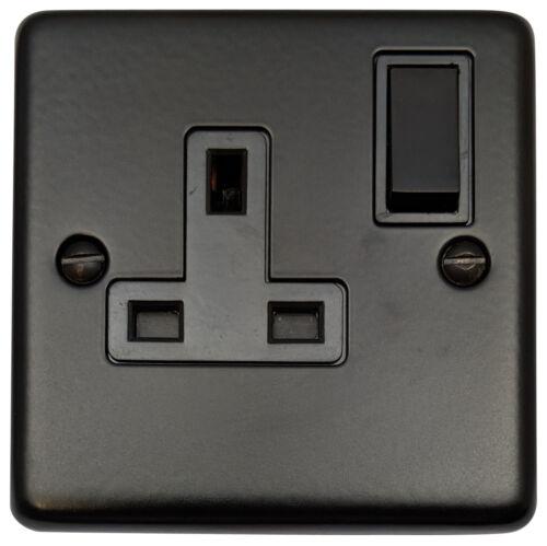 G/&H cfb9b standard plaque matt black 1 gang simple 13a switched plug socket