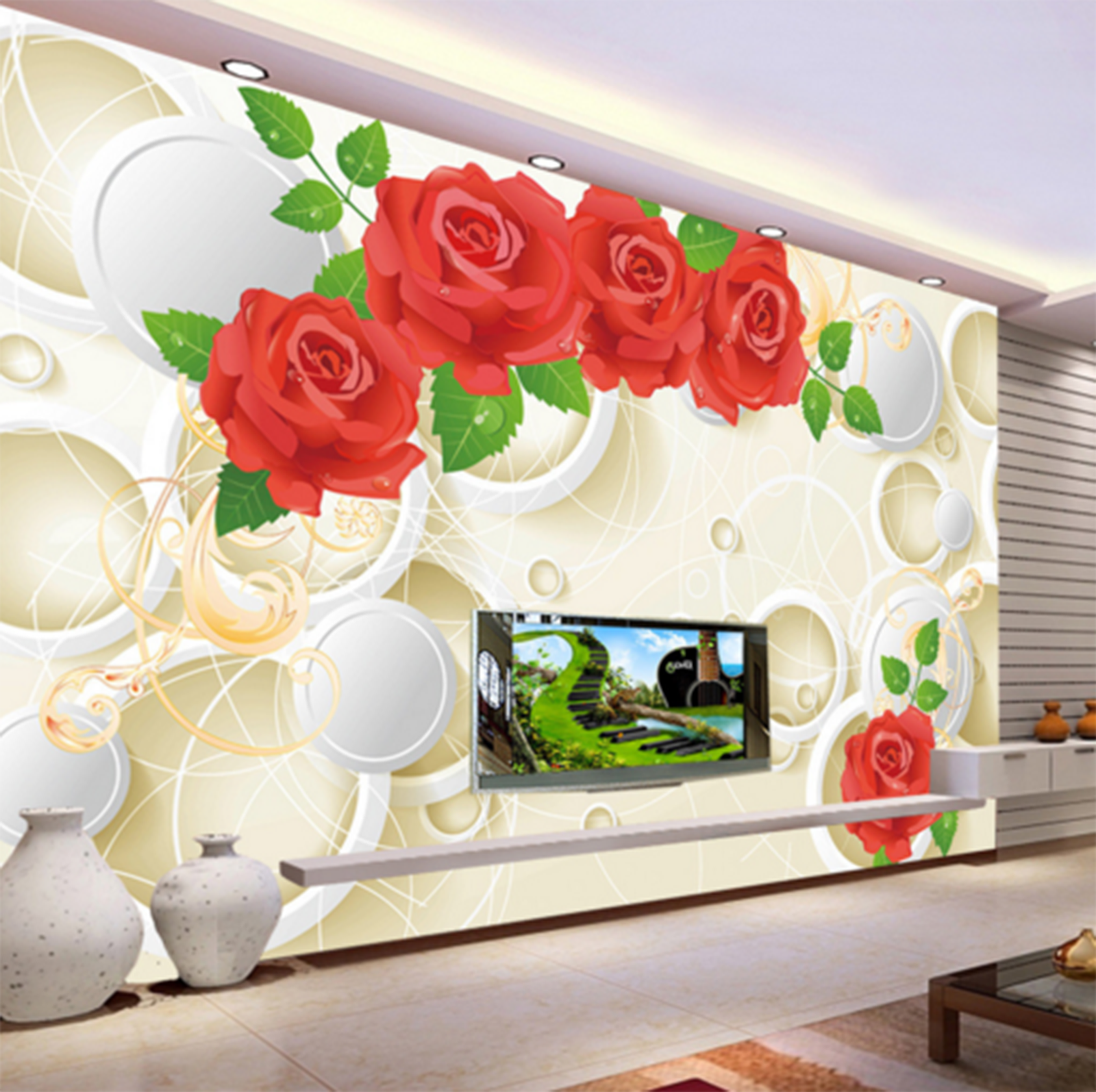 3D Weiß Ball Flowers Adorn Wall Paper Wall Print Decal Wall AJ WALLPAPER CA