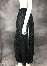 VTG 70s Black Silver Metallic Stripe Harem Gypsy Pants Lightweight One Size