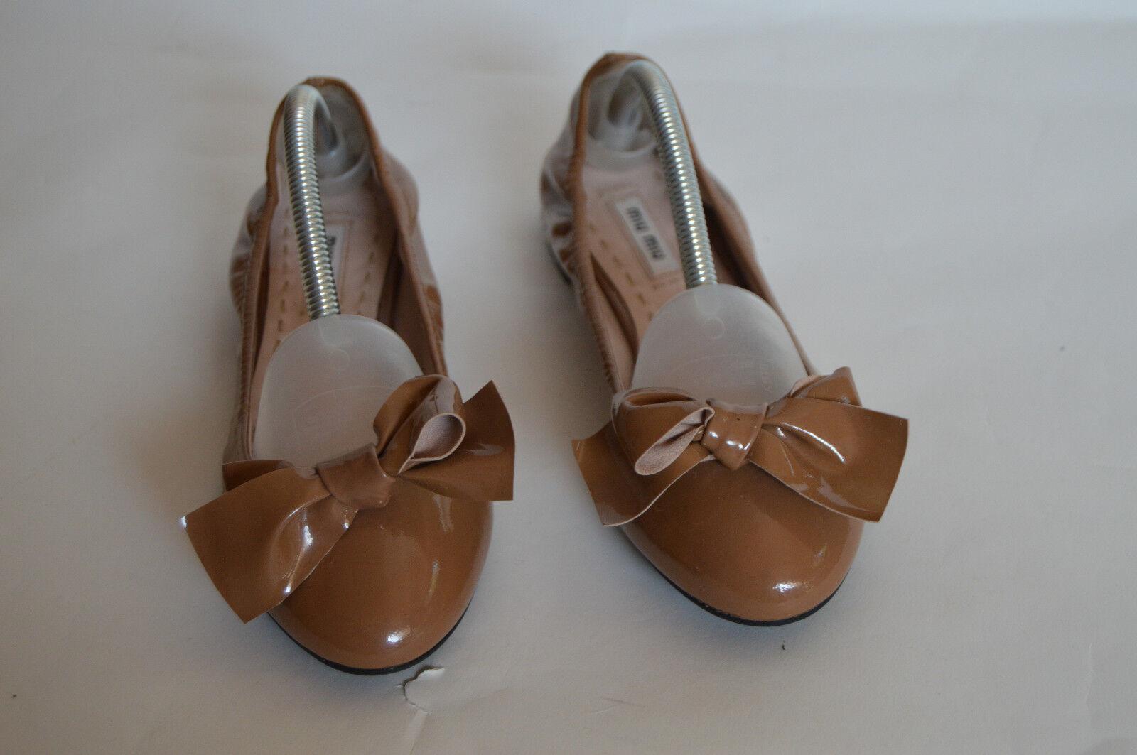 MIU MIU marrone patent leather jeweled heel ballet flats size 8.5 US   38.5 EU