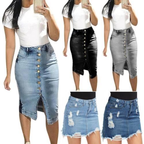 Womens Denim Jeans Skirt High Waist Pencil Bodycon Button Midi Dress Plus Sizes