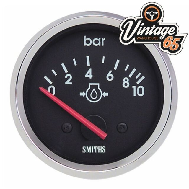 Smiths Oldtimer 52mm Öldruckanzeige Chrom-Blende Rennen Rally Kit