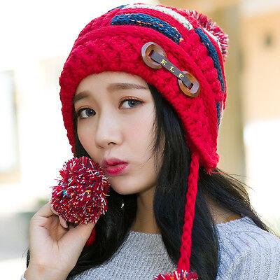 FASHION Women Winter Warm Crochet Knitting Hat Girl Beret Ski Beanie Ball Cap