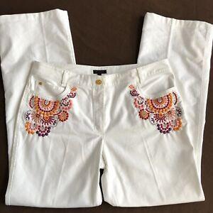 ESCADA-White-Embroidered-Flare-Wide-Leg-Jeans-Euro-44-US-14