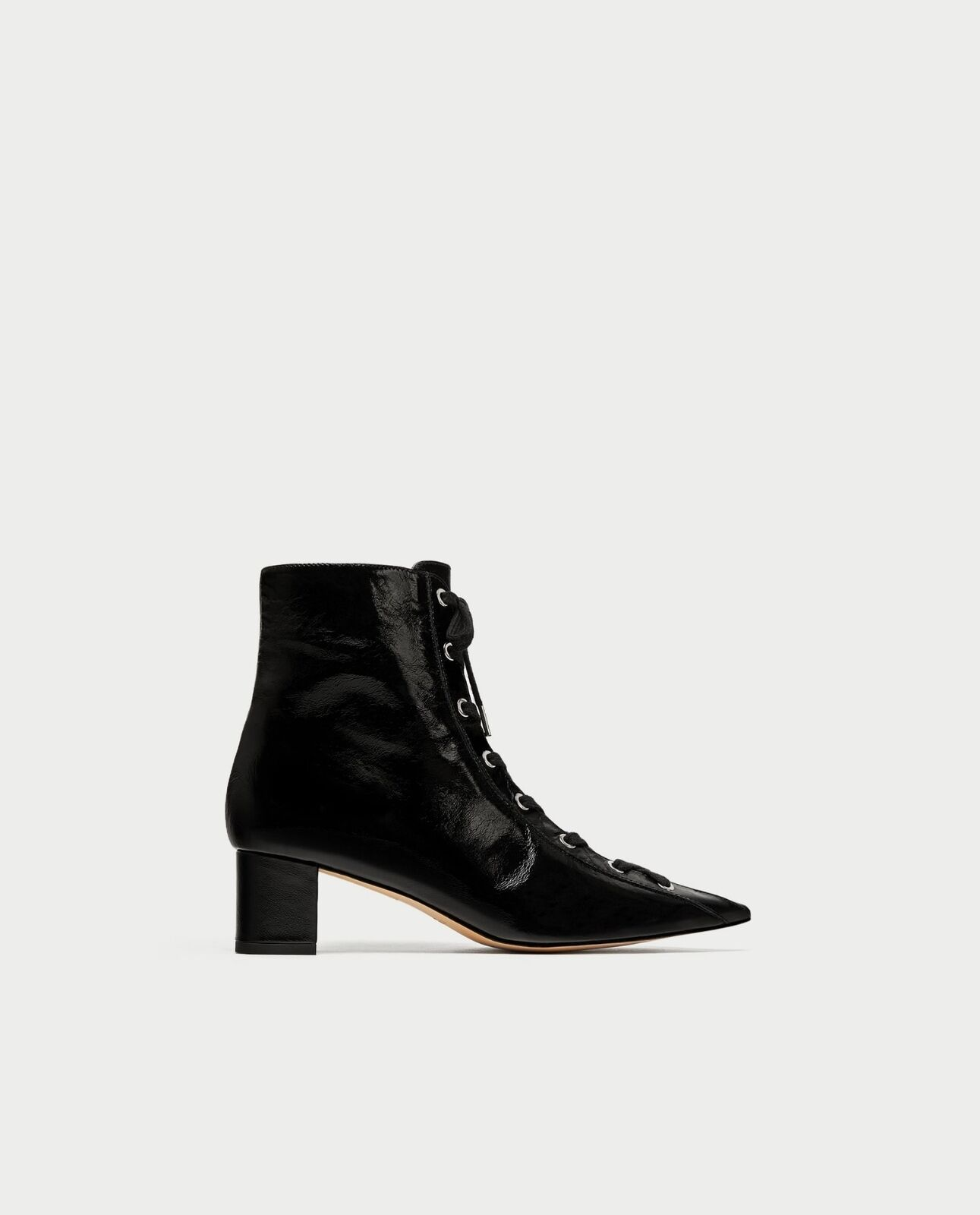 BNWT ZARA Lace Up Leather High Heel Ankle Boot REF.6078 201