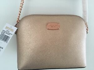 23a73a5feac71c MICHAEL KORS CINDY LG DOME CROSSBODY LEATHER BAG HANDBAG ROSE GOLD ...