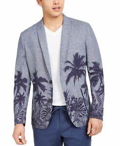 INC Mens Blazer Blue Size Medium M Slim-Fit Palm Tree Print 2-Button $139 256