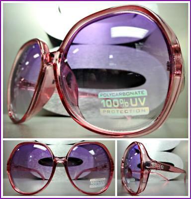 OVERSIZED EXAGGERATED VINTAGE RETRO Style SUN GLASSES Transparent Purple Frame