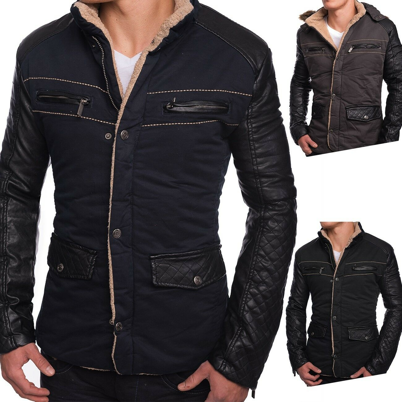 Uomo Winter Jacket Fiord jacket leather sleeves quilted warm lining Hood Fur