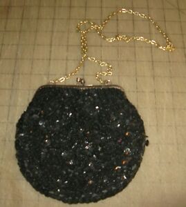 """Vintage 6"""" x 7"""" Black Beaded with Sequins Floral Purse - Made in Hong Kong"""