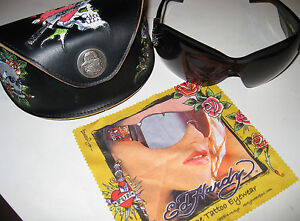 Womens-Skull-Heart-Crystal-Tattoo-Ed-Hardy-Black-Sunglasses-EHS-023-with-Case