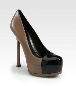 55a7931b6f1b YSL Yves Saint Laurent Tribute Two Cap Toe Platform Pumps Heels ...