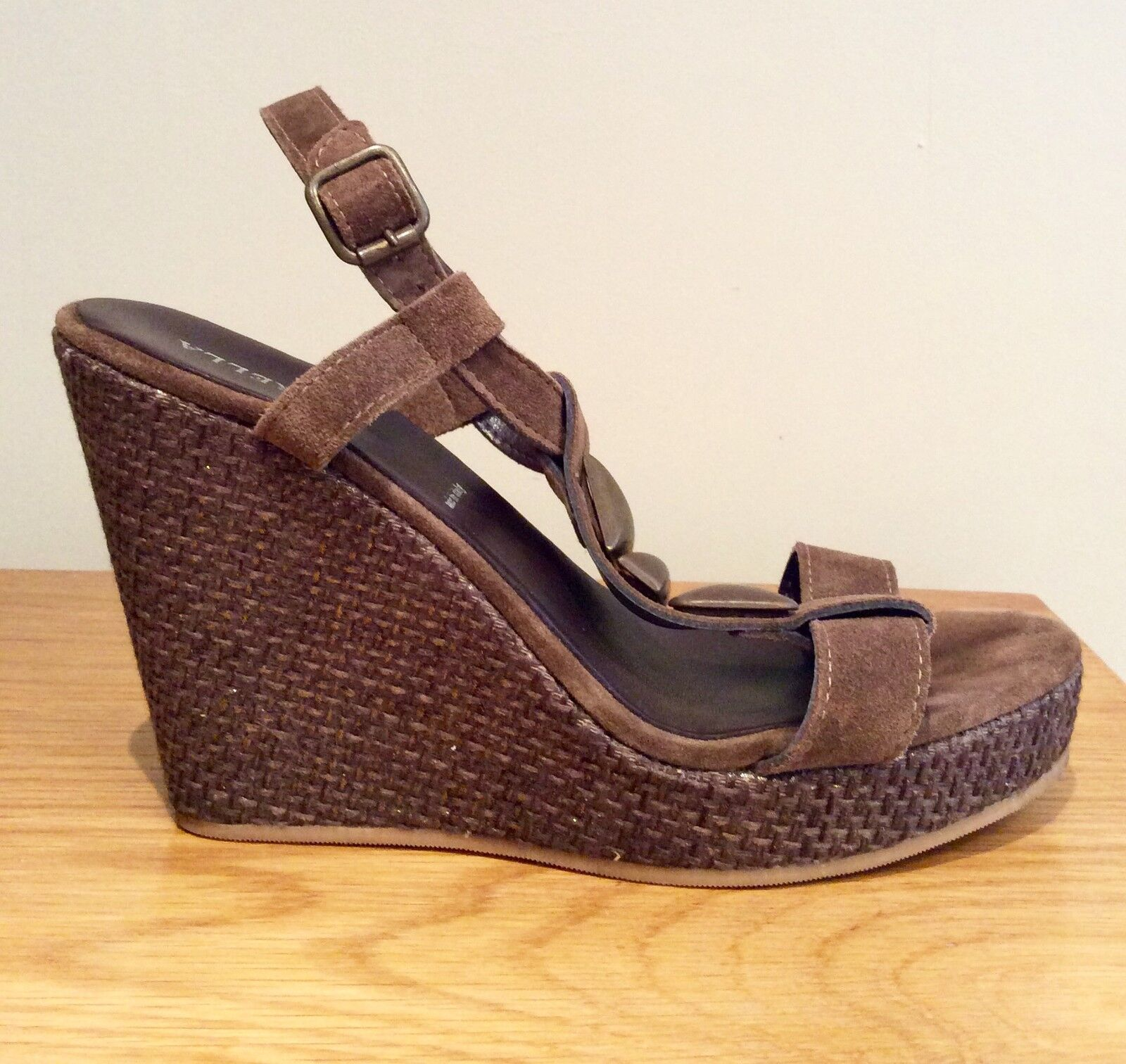 MARELLA by MAXMARA  WEDGE SHOES BROWN SIZE 37 LEATHER SUEDE