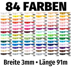 91m x 3mm Satinband Schleife Band Dekoband Geschenkband Deko 84 Farben zur Wahl