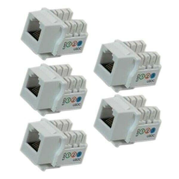 5x Keystone Jack Cat3 White Telephone//Phone Line 110 Tool Less 8P8C RJ11//12