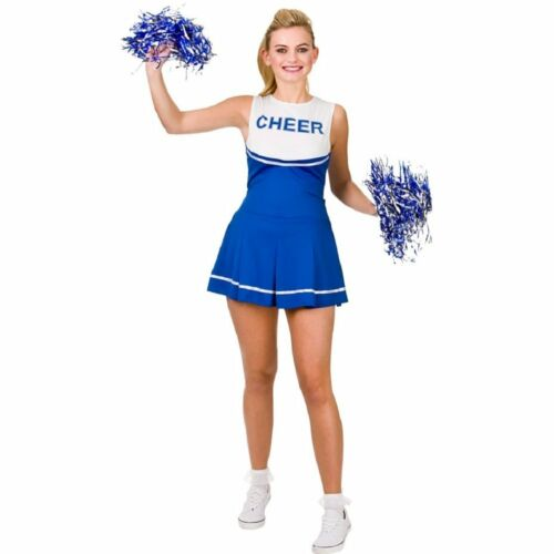 Pom Poms Blue Cheerleader Fancy Dress Costume Womens Ladies High School Prom