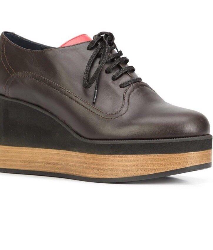 NEW Jil Sander Navy Lace Up Wedge schuhe Stiefelie Heels Größe 39 braun Leather