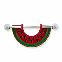 Watermelon Nipple Ring Bar Shield 14g Stainless Steel Body Jewelry