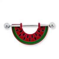Watermelon Nipple Ring Bar Shield 14g Stainless Steel Body Jewelry