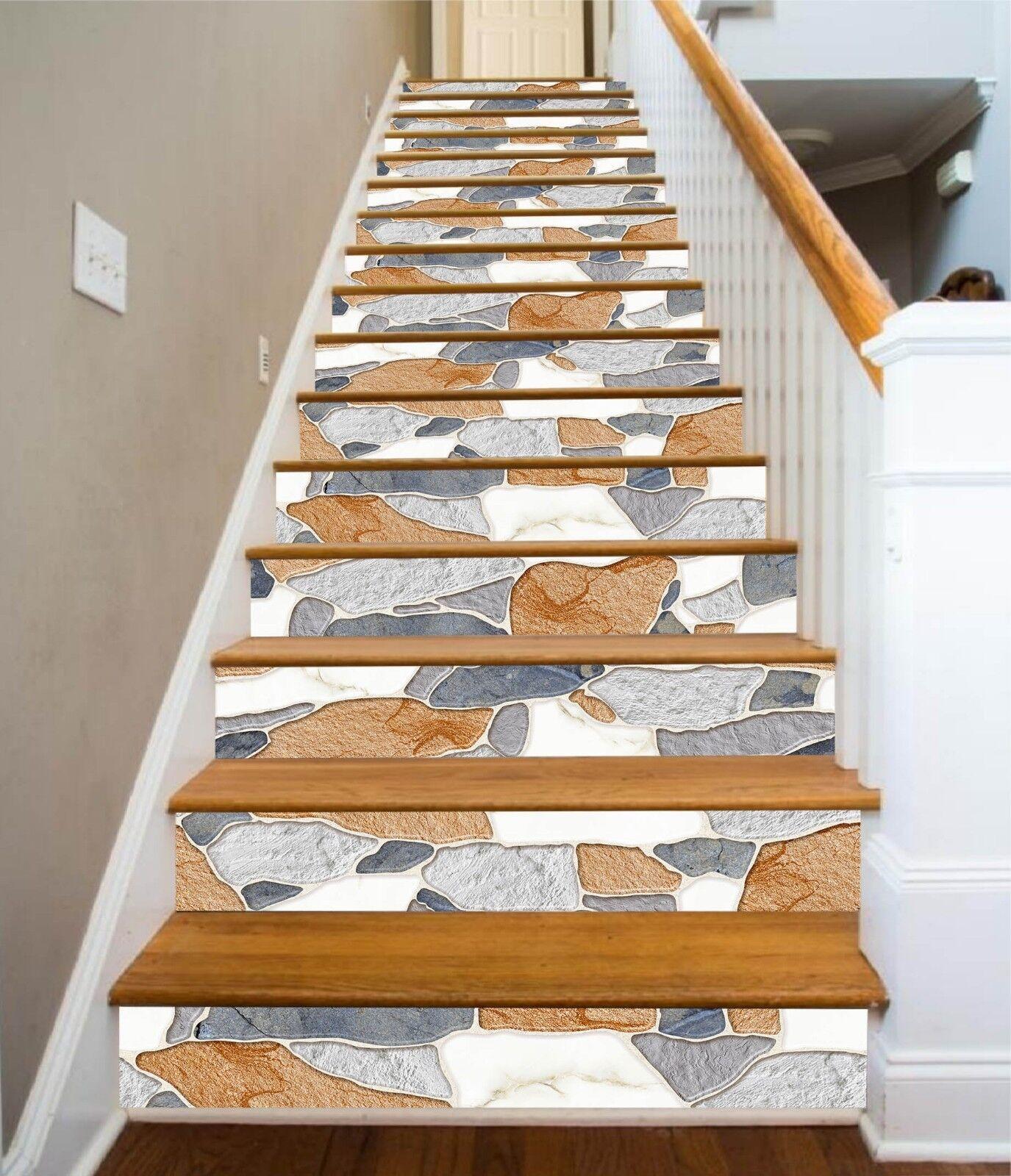 3D Irregulr 7 Fliese Marmor Stair Risers Fototapete Vinyl Aufkleber Tapete