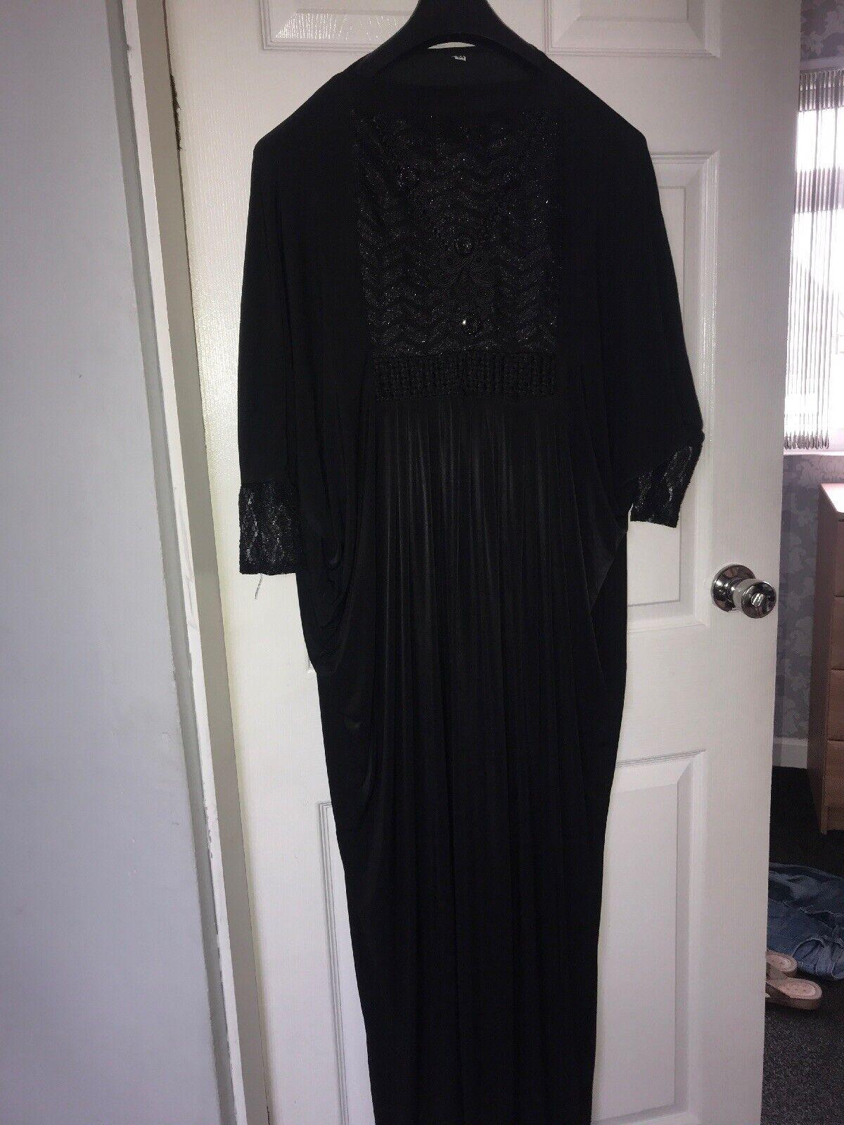 All Black Abaya With Plain Black Matching Scarf Size 54