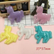 5 Glitter Pastel Mixed Unicorn Set Flatbacks Cabochon DIY Decoden Kawaii Lot