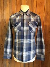 De Colección Algodón Western Cowboy Camisa Levis pequeño 36 pecho lengüeta roja ajuste estándar en muy buena condición