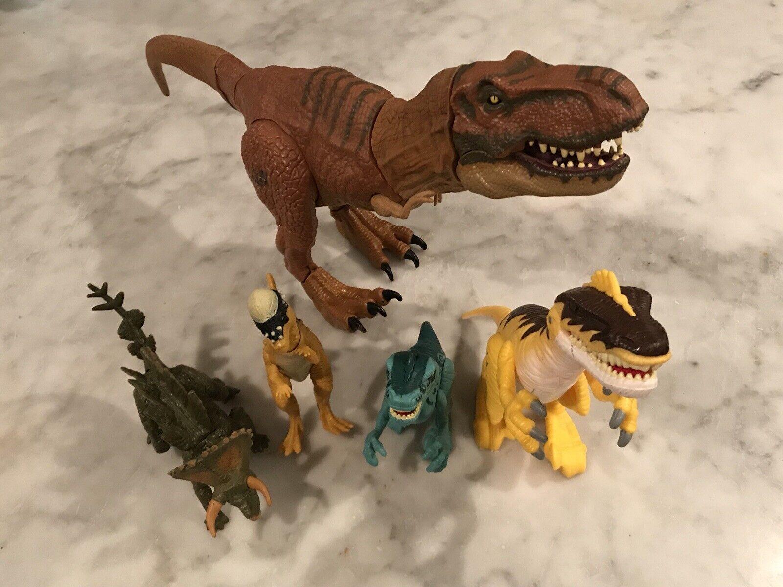 LOT of 5 Jurassic World Dinosaurs - T-Rex,  Velociraptor, Stegoceratops, Ramhead