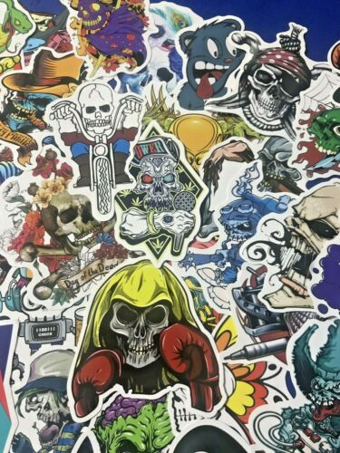 200pc Skulls 2 of Each Kind Laptop Guitar Gothic Emo Decal Scary Sticker Pack